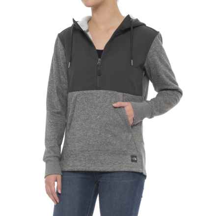 The North Face Tech Sherpa Hoodie - Zip Neck (For Women) in Tnf Medium Grey Heather - Closeouts
