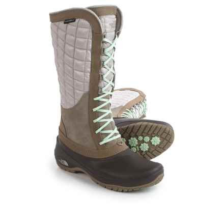 The North Face ThermoBall® Utility Pac Boots - Waterproof, Insulated (For Women) in Split Rock Brown/Subtle Green - Closeouts