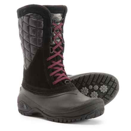 The North Face ThermoBall® Utility Pac Boots - Waterproof, Insulated (For Women) in Tnf Black/Deep Garnet Red - Closeouts