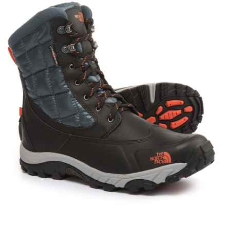 The North Face ThermoBall® Utility Winter Boots - Waterproof, Insulated (For Men) in Phantom Grey/Valencia Orange - Closeouts