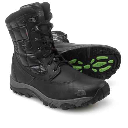 The North Face ThermoBall® Utility Winter Boots - Waterproof, Insulated (For Men) in Tnf Black/Powder Green - Closeouts