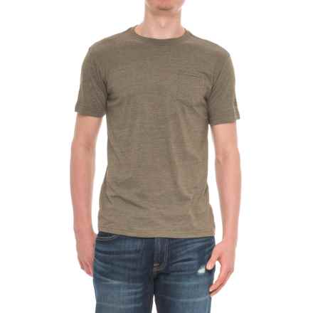 The North Face Tri-Blend Pocket T-Shirt - Short Sleeve (For Men) in Burnt Olive Green Heather - Closeouts