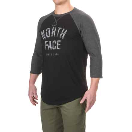 The North Face Varsity Club T-Shirt - Crew Neck, 3/4 Sleeve (For Men) in Tnf Black /Tnf Dark Grey Heather (Std) - Closeouts
