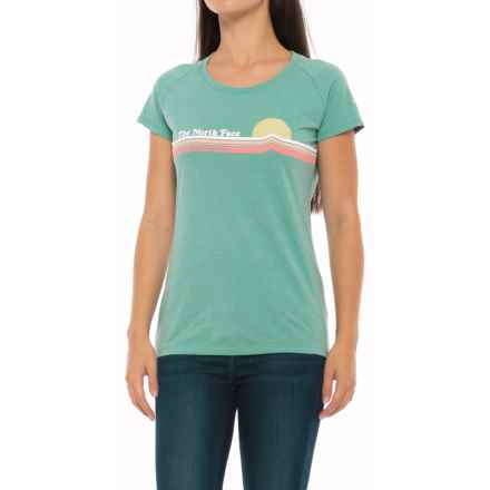 The North Face Vintage Sunset T-Shirt - Slim Fit, Short Sleeve (For Women) in Agate Green Heather - Closeouts