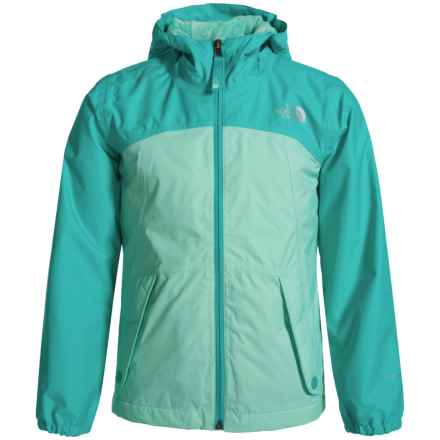 The North Face Warm Storm Jacket - Waterproof, Fleece Lined (For Little and Big Girls) in Ice Green - Closeouts