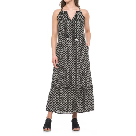 The Prairie Fortune Teller Maxi Dress - Sleeveless (For Women) in Rocco Stamped Leaf/ Black Combo