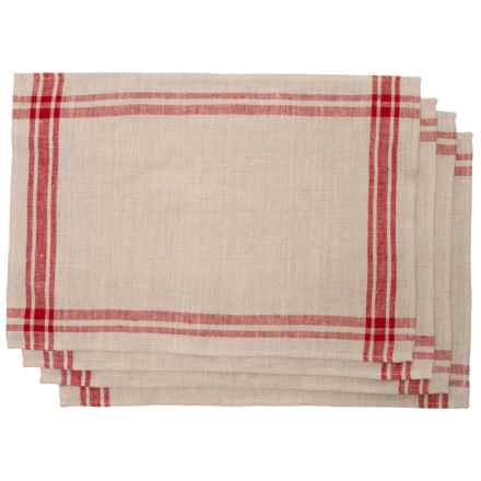 """The Prairie Silver Martha Plaid Placemats - 13x19"""", Set of 4 in Red - Closeouts"""