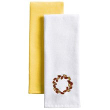 The Turkish Towel Company Autumn Kitchen Towels - Set of 2 in Fall Wreath - Overstock