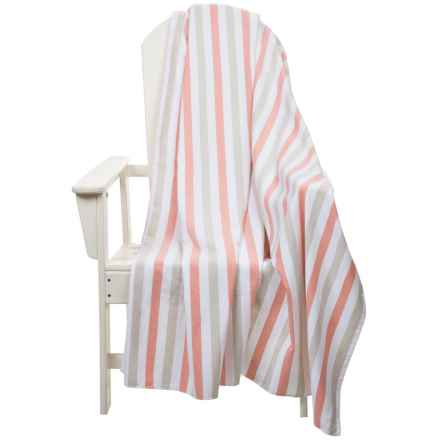 "The Turkish Towel Company Beach Blanket - Turkish Cotton, Carry Handle, 60x60"" in Coral/Beige - 2nds"