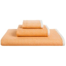 The Turkish Towel Company Cotton Zigzag Peshterry® Washcloth in Orange - Closeouts