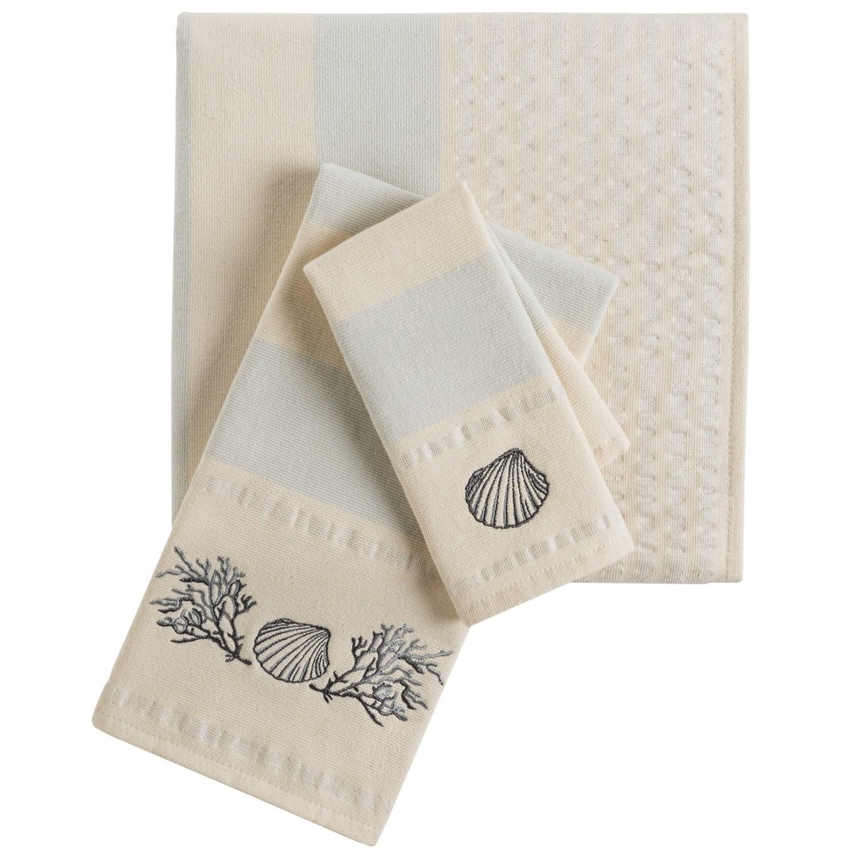 The Turkish Towel Company Embroidered Stripe Peshterry