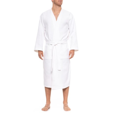 575f995770 The Turkish Towel Company Organic Cotton Kimono Waffle Robe - Long Sleeve  (For Men and