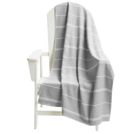 The Turkish Towel Company Peshterry® Striped Beach Towel in Grey - Closeouts
