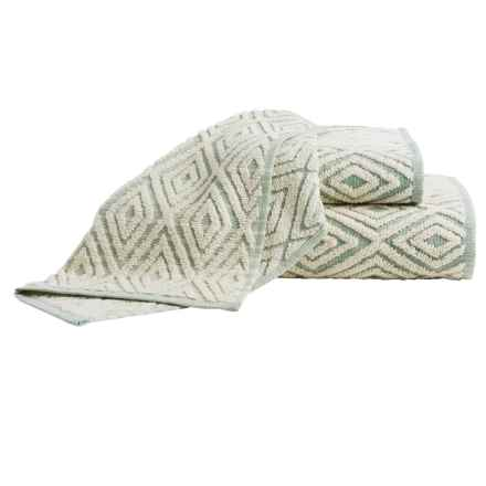 The Turkish Towel Company Rhombus Jacquard Washcloth in Green - Overstock