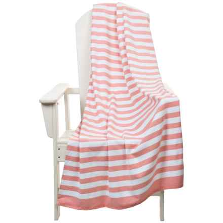 "The Turkish Towel Company Stripe Beach Towel and Tote Bag - 35x68"" in Coral/White - 2nds"