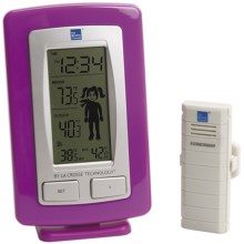 The Weather Channel Wireless Weather Station - Weather Boy/Girl Icons, Detachable Stand in Silver/Pink - Closeouts