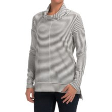 Thermal Cowl Neck Shirt - Long Sleeve (For Women) in White/Black - 2nds