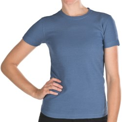 Thermal T-Shirt - Cotton, Short Sleeve (For Women) in Blue