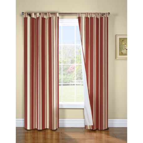 """Thermalogic Weathermate Broad Stripe Curtains - 80x63"""", Tab-Top, Insulated, Lined in Khaki"""