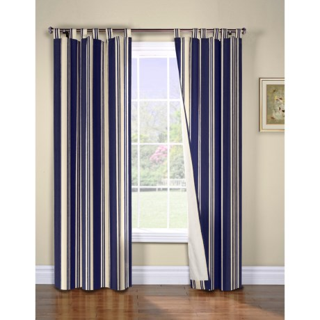 "Thermalogic Weathermate Broad Stripe Curtains - 80x72"", Tab-Top, Insulated, Lined in Navy"