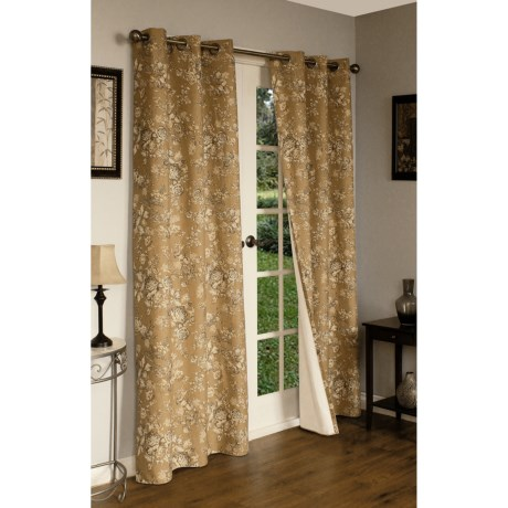 "Thermalogic Weathermate Hanover Floral Curtains - 80x72"", Grommet-Top, Insulated in Tea Stain"