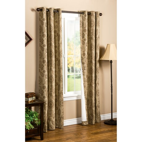 """Thermalogic Weathermate Plymouth Paisley Curtains - 80x63"""", Grommet-Top, Insulated in Black/Natural"""