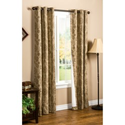 """Thermalogic Weathermate Plymouth Paisley Curtains - 80x72"""", Grommet-Top, Insulated in Black/Natural"""