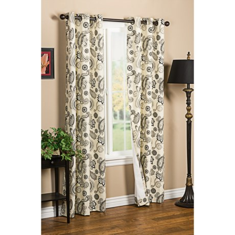 "Thermalogic Weathermate Plymouth Paisley Curtains - 80x84"", Grommet-Top, Insulated in Black/Natural"