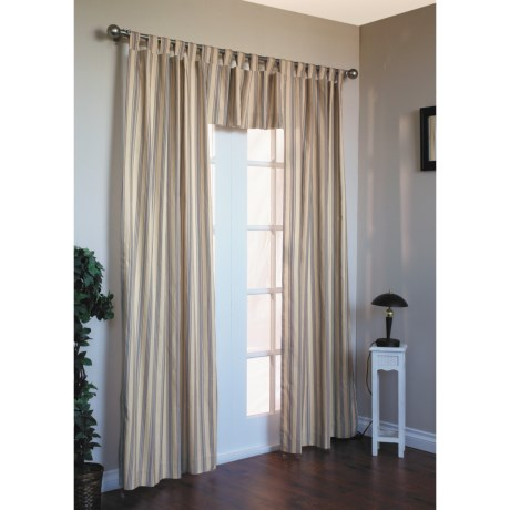 "Thermalogic Weathermate Stripe Curtains - 80x63"", Tab-Top, Insulated in Blue"