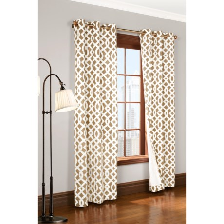 "Thermalogic Weathermate Trellis Curtains - 80x72"", Grommet-Top, Insulated in Navy"