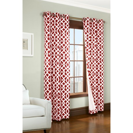 "Thermalogic Weathermate Trellis Curtains - 80x72"", Grommet-Top, Insulated in Red"