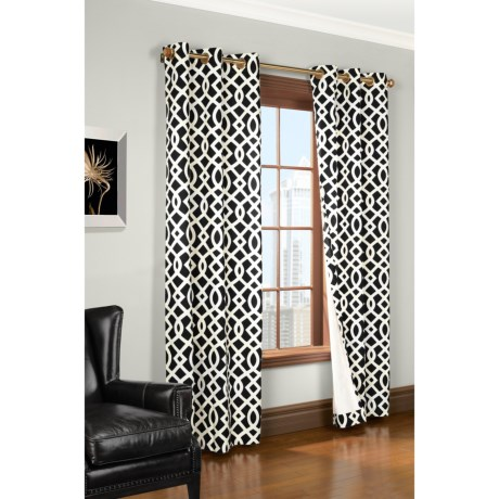 """Thermalogic Weathermate Trellis Curtains - 80x84"""", Grommet-Top, Insulated in Black"""