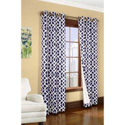 """Thermalogic Weathermate Trellis Curtains - 80x84"""", Grommet-Top, Insulated in Navy"""