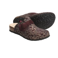 Think! Julia Clogs - Metallic Print Suede, Open Back (For Women) in Port Combo - Closeouts