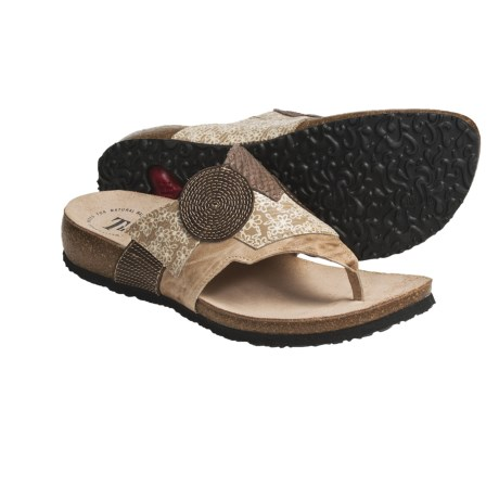 Think! Julia Thong Sandals - Leather Patchwork (For Women) in Kork Combo