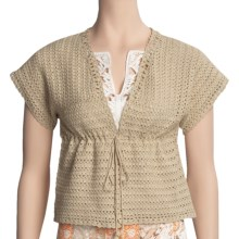 Think Tank Cotton Hand-Crocheted Cardigan Sweater - Short Sleeve (For Women) in Gold - Closeouts