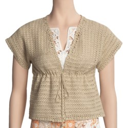 Think Tank Cotton Hand-Crocheted Cardigan Sweater - Short Sleeve (For Women) in Gold