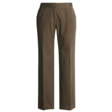 Think Tank Herringbone Cotton Pants - Leather Tabs (For Women) in Brown - Closeouts