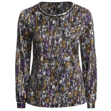 Think Tank Jewel Neck Blouse - Long Sleeve (For Women) in Multi - Closeouts