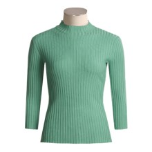 Think Tank Mock Neck Sweater - ¾ Sleeve (For Women) in Green - Closeouts