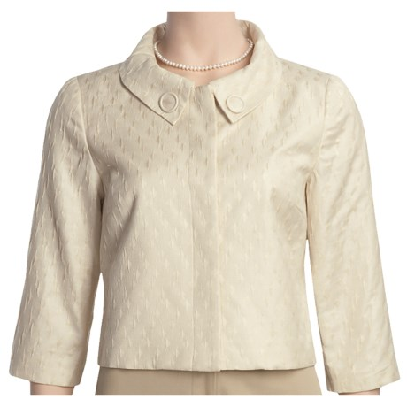 Think Tank Textured Crop Jacket - 3/4 Sleeve (For Women) in Tan