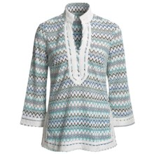 Think Tank Zigzag Tunic Shirt - 3/4 Sleeve (For Women) in Turquoise - Closeouts