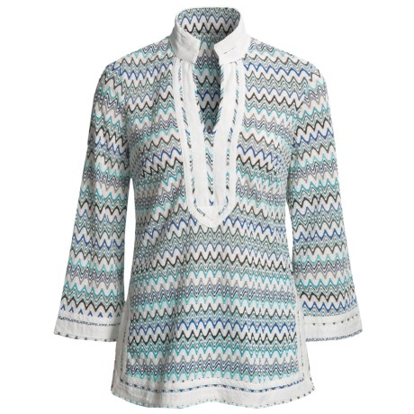 Think Tank Zigzag Tunic Shirt - 3/4 Sleeve (For Women) in Turquoise