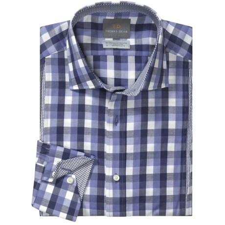 Thomas Dean Big Check Sport Shirt - Long Sleeve (For Men) in Blue