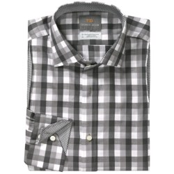 Thomas Dean Big Check Sport Shirt - Long Sleeve (For Men) in Grey