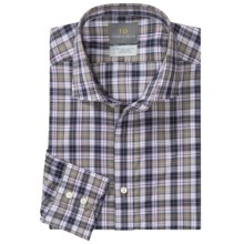 Thomas Dean Check Sport Shirt - Cotton, Spread Collar, Long Sleeve (For Men) in Navy - Closeouts