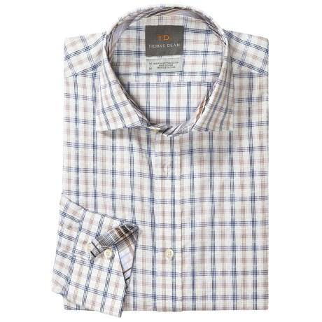 Thomas Dean Cotton Check Sport Shirt - Long Sleeve (For Men and Tall Men) in Grey/Brown