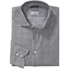 Thomas Dean Cotton Check Sport Shirt - Long Sleeve (For Men and Tall Men) in Grey - Closeouts