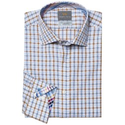 Thomas Dean Cotton Check Sport Shirt - Long Sleeve (For Men and Tall Men) in Blue/Navy