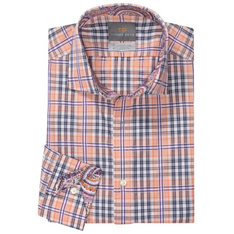 Thomas Dean Cotton Check Sport Shirt - Long Sleeve (For Men) in Orange